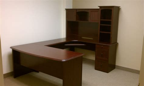 Realspace Broadstreet Contoured U Shaped Desk by Realspace Broadstreet Contoured U Shaped Desk With Hutch