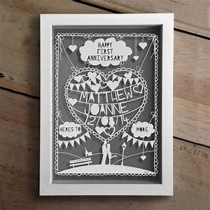 personalised first anniversary papercut first With 1st wedding anniversary gifts