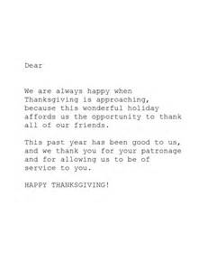 Thanksgiving Thank You Letter Sample