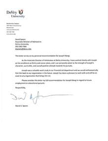 Personal College Recommendation Letter Sample