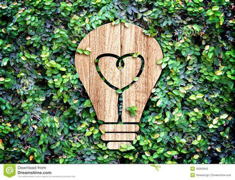 light bulb wood icon and heart shape inside on green leaf