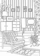 Room Living Pages Coloring Retro Printable Adult Christmas Favoreads Adults Movie Theater Colouring Drawing Sheets Club Interior Rooms Books Things sketch template