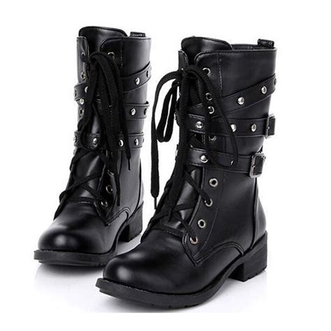 Motorcycle Boots Women Cool Goth Punk Ankle Military Lace