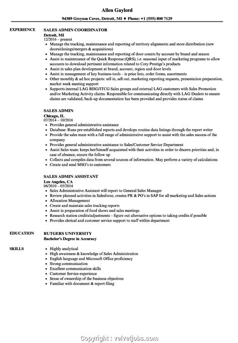 Admin Resume by Downloadable Sales Admin Resume Sales Admin Resume Sles
