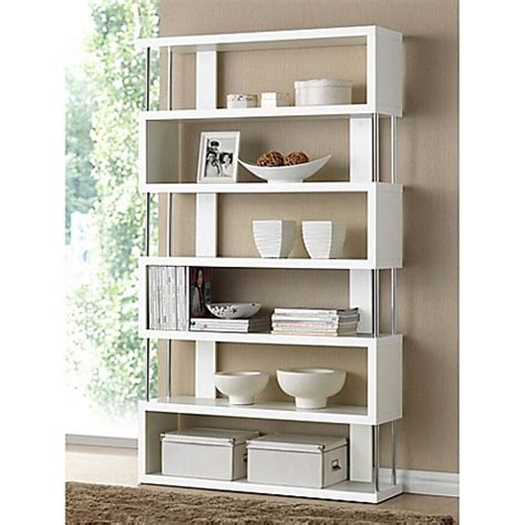 bed bath and beyond bookcase buy baxton studio barnes 6 shelf bookcase in white from
