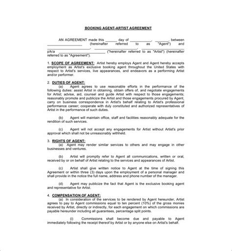 booking agent contract templates  word