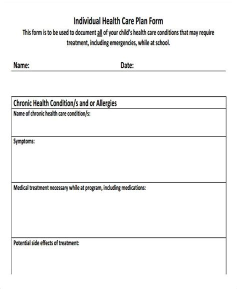 health care plan template  word  format