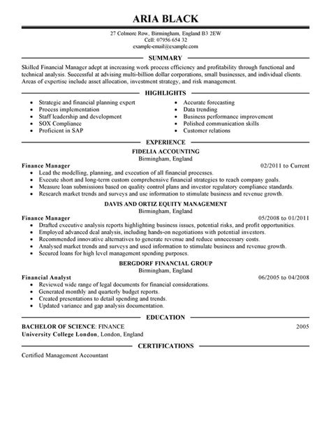manager resume exle finance sle resumes livecareer