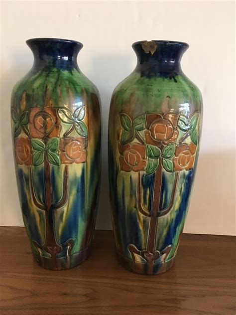 antique belgium arts crafts pottery vases