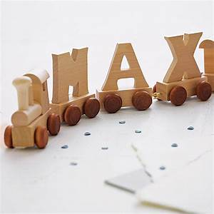 Personalised wooden name train by when i was a kid for Wooden toy train letters