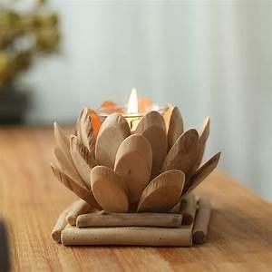 Wood, Tea, Light, Holder, Lotus