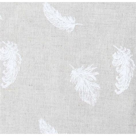 feathers white white patterned linen mix fabric