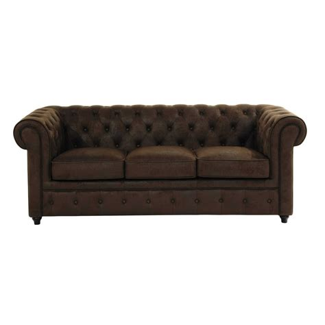 canape imitation cuir 3 seater imitation suede button sofa in brown chesterfield
