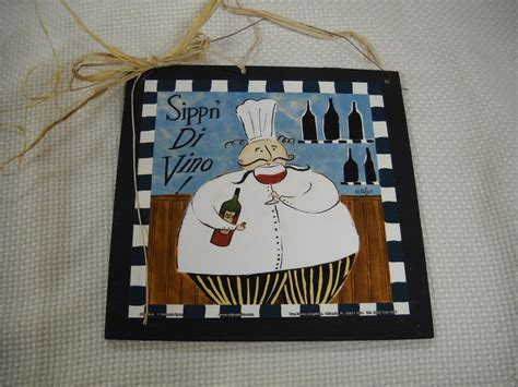 sippn di vino chef wooden kitchen wall art sign bistro