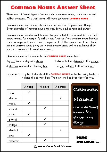 common noun worksheets