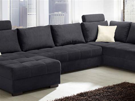 Sofa Händler by Wohnlandschaft Antigua 357x222cm Mikrofaser Schwarz Sofa