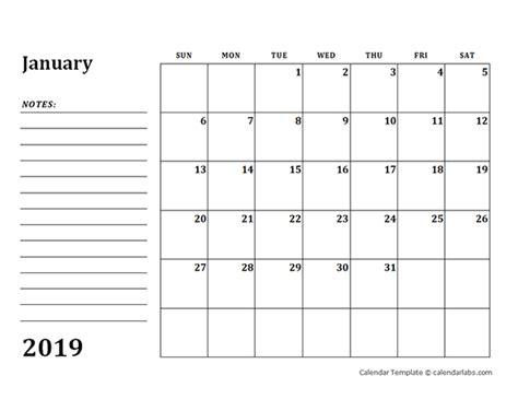 blank calendar template  notes  printable