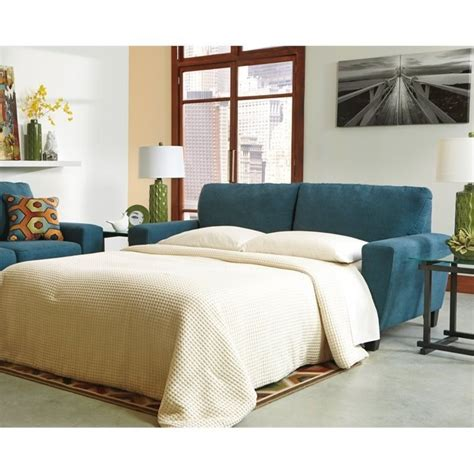 ashley sagen fabric queen size sleeper sofa  teal