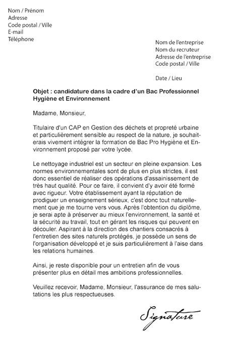 licence pro cuisine lettre de motivation bac pro hygiène et environnement