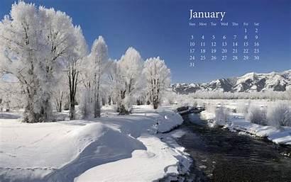 January Snow Fresh Calender Wallpapers Widescreen Desktop
