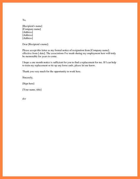 formal resignation letter sample  month notice