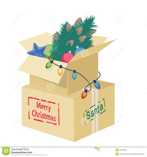 cardboard box  christmas decorations stock vector