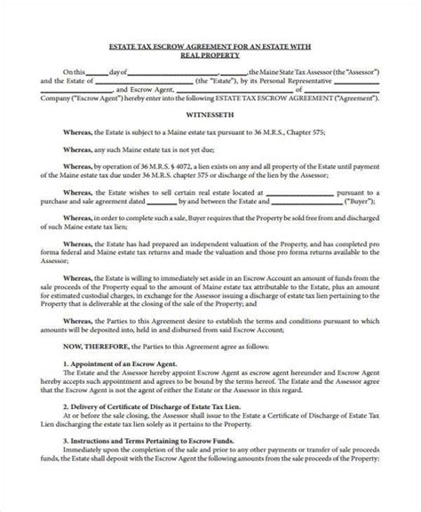 Tax Agreement Template by Escrow Agreement Template Resume Template Sle