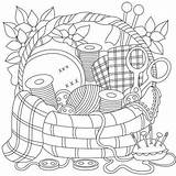 Coloring Sewing Patterns Printable Adult Embroidery Adults Basket Drawing Gift Adulte Dessin Crafts Colouring Dibujos Drawings Books Pintar Super Coloriage sketch template