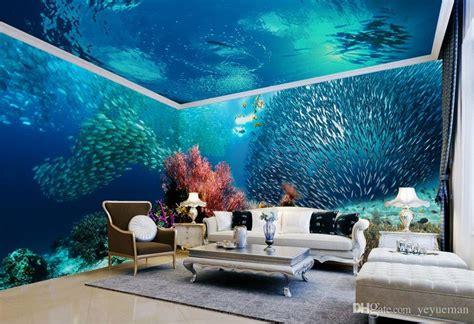 customized  ceiling european ocean world wallpaper