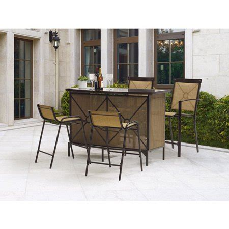 bar height patio dining set mainstays palmerton landing bar height patio dining set