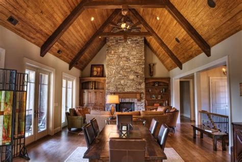 wooden beams  stone  perfect combination   cabin  feel