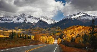 Mountain Landscape Road Fall Nature Snowy Forest