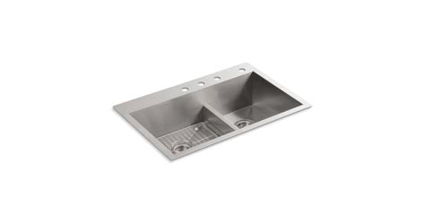 kohler vault smart divide sink k 3839 4 vault smart divide kitchen sink with four