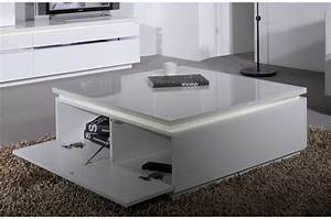Table Basse Carre Laque Blanc