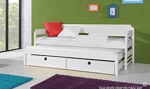 Lit Enfant Rangement : lit gigogne blanc pour enfant en bois massif 2 couchages et 2 tiroirs ~ Teatrodelosmanantiales.com Idées de Décoration