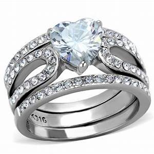 cje2041 wholesale stainless steel cz wedding ring set With wedding ring wholesale