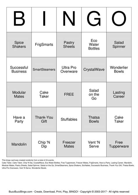 tupperware bingo cards   print  customize