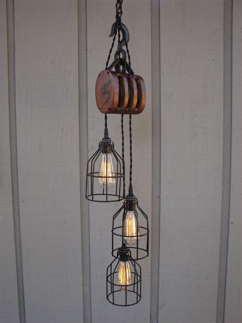 industrial pulley pendant light lights for living room