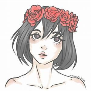 Tumblr Girl Drawing Flower Crown - Drawing Artistic