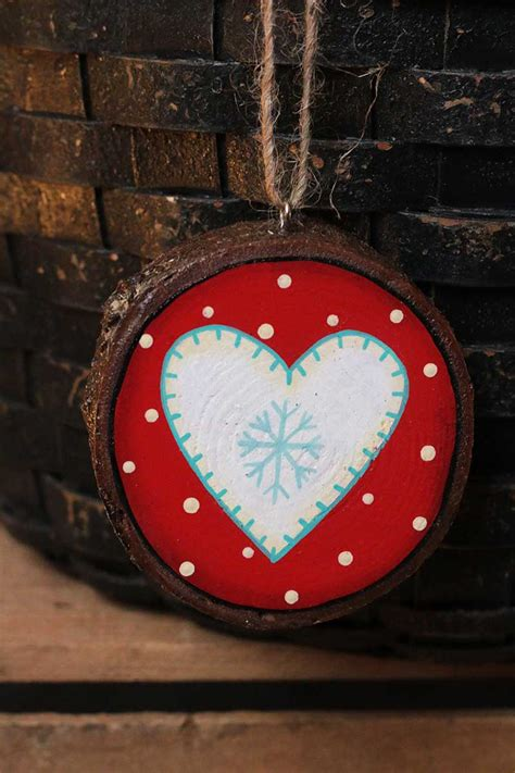 nordic heart ornament hand painted wood slice ornament