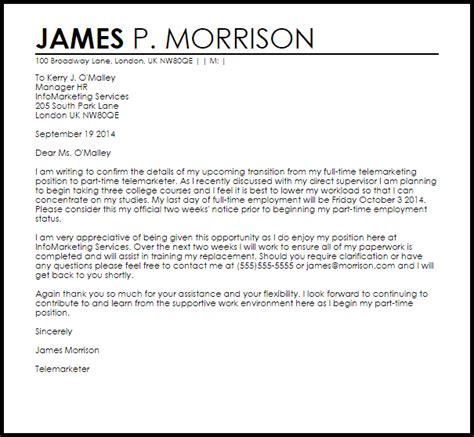 resignation letter  fulltime  part time livecareer