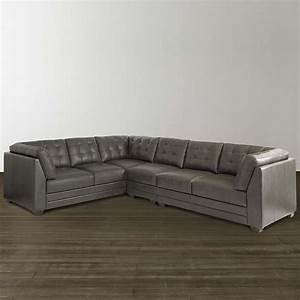 Slate Grey Leather L Shaped Sectional