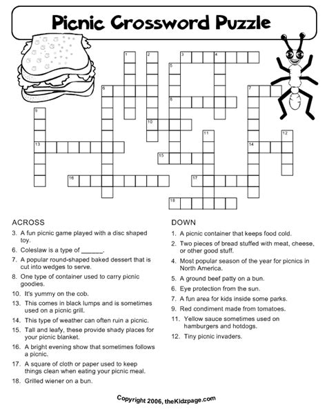 picnic crossword puzzle  printable learning