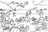 Coloring Beach Pages Summer Picnic Drawing Vacation Children Printable Sheets Colour Disney Crowded Drawings Scene Getdrawings Adults Relaxing Rocks Getcolorings sketch template