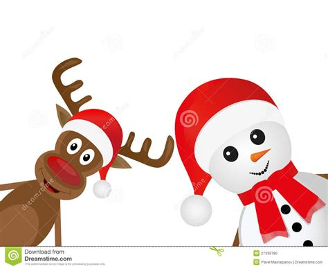 christmas reindeer and a snowman stock photo image 27339790