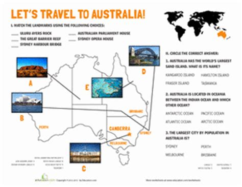 australia landmarks worksheet education