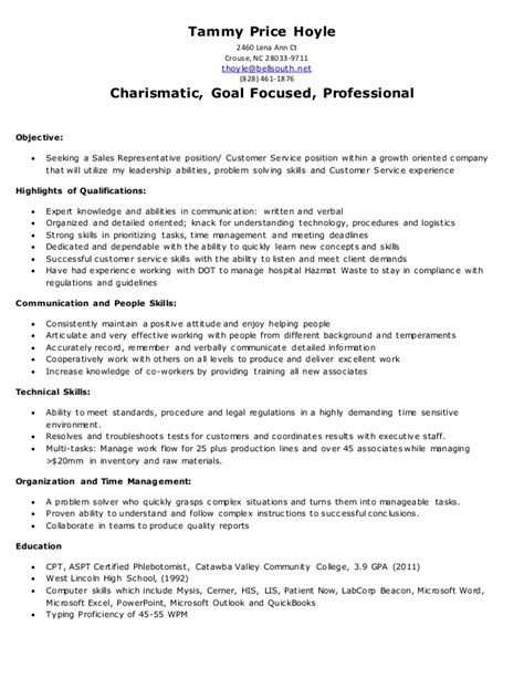 Resumes By Tammy by Tammy Hoyle Resume Sales Customer Service 9 29 15