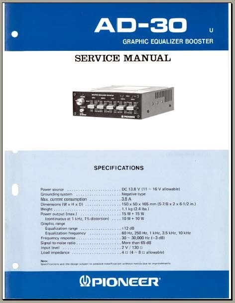 pioneer ad 30 service manual analog alley manuals