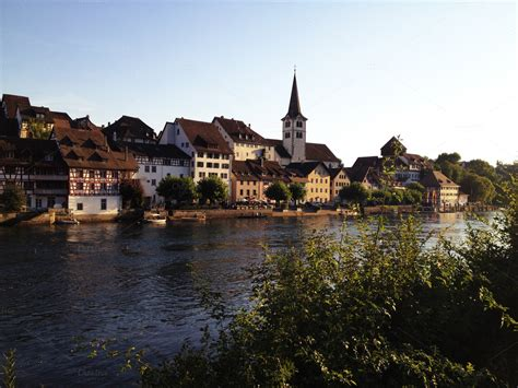 medieval town bridge  river architecture