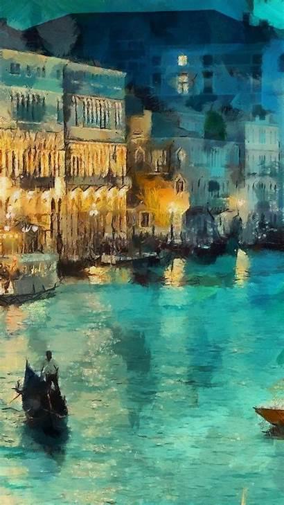 Iphone Painting Classic Water Lake Night Plus